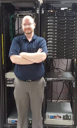 Schumaker with server rack for lab