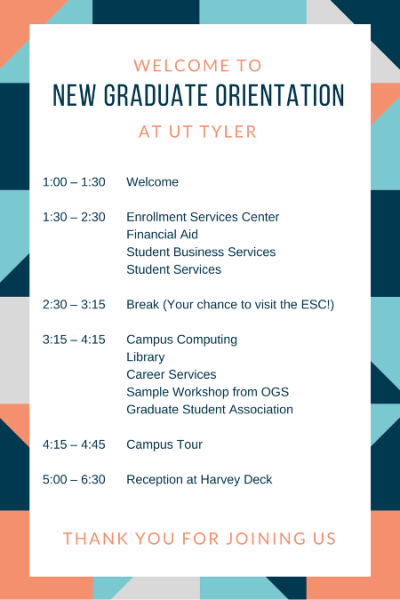 2017 Orientation Agenda for Graduate School