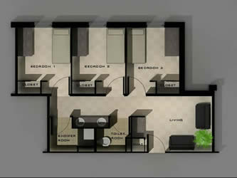 This image shows the layout of a three bedroom suite in Ornelas Hall.